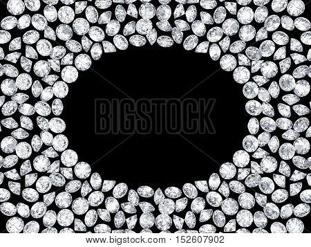 Group of 3d diamonds frame on a black background
