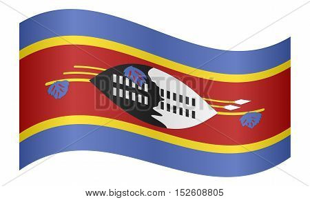 Swazi national official flag. Patriotic symbol banner element background. Correct colors. Flag of Swaziland waving on white background vector illustration