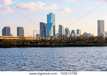 buildings in Yeouido financial district with Han river