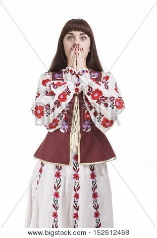 Portrait of Frightened Caucasian Brunette Female. Posing with Hands Closing Mouth. Against Pure White. Vertical Composition