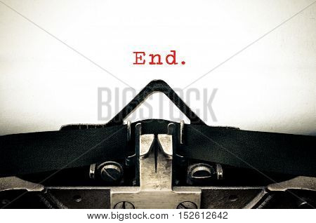 Typewritter With The Word End