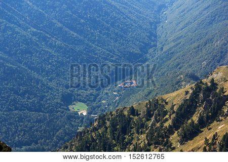 Amazing Panorama of Green hills and Rila monastery, Bulgaria