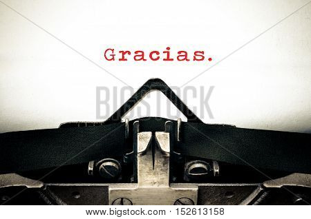 Typewritter With The Spanish Word Gracias