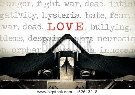 Typewriter written message with the word Love
