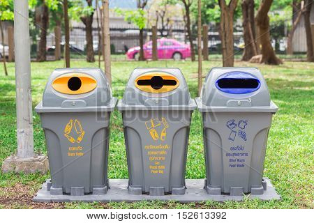 Bins In Park For Glass Bottle/ Can, Plastic Bottle, Paper Bag/ Other Waste Food Waste
