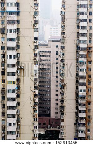 old high rise apartment buildings in China