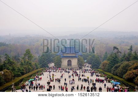 NANJING CHINA- MARCH 18: Purple mountain or Zhongshan in Chinese is a tourist area where you can see the memorial hall of Sun Yat-Sen on March 18 2016 in Nanjing.