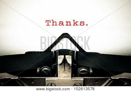 Typewriter written message with the word Thanks
