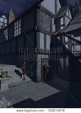 Fantasy illustration of an armed robber waiting to ambush a passer-by in a moonlit Medieval street, digital illustration (3d rendering)