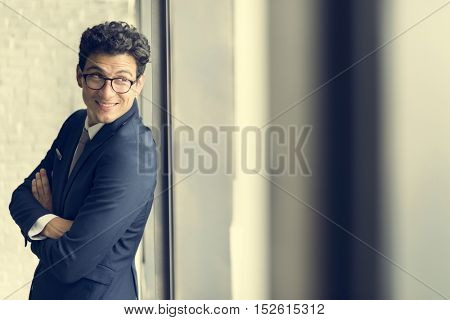 Businessman Smart Leaning Confident Suit Tie Concept