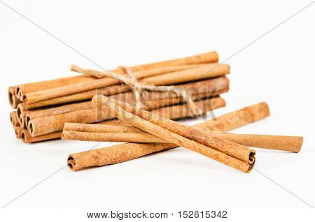 The many cinnamon isolated on white background