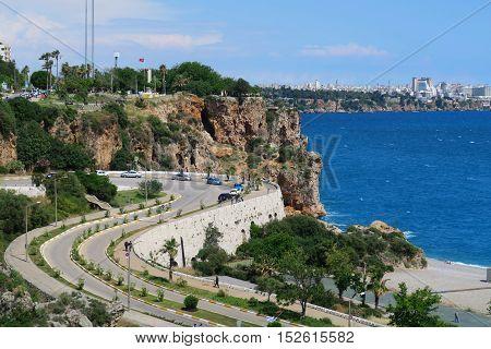 Street from Konyaalti Beach to the Oldtown of Antalya - Kaleici in Turkey
