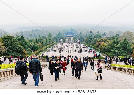NANJING CHINA- MARCH 18: Purple mountain or Zhongshan in Chinese is a tourist area where you can see the memorial hall of Sun Yat-Sen on March 18 2016 in Nanjing