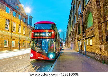 Night scene of London bus in Kings cross