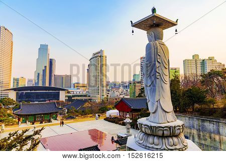 SEOUL SOUTH KOREA - FEBURARY 27: This is Bongeunsa temple a famous buddhist temple and tourist attraction on Feburary 27 2016 in Seoul.