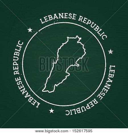 White Chalk Texture Rubber Seal With Lebanese Republic Map On A Green Blackboard. Grunge Rubber Seal