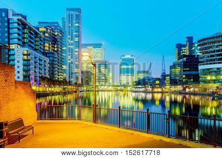Canary wharf financial district architecture at night
