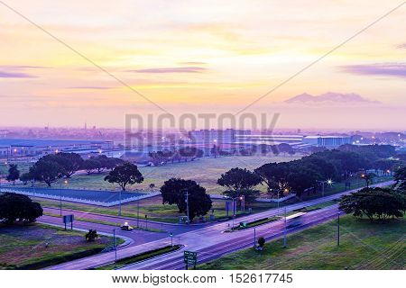Angeles city at sun rise in the Philippines