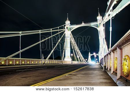 Night view of Chelsea bridge in London