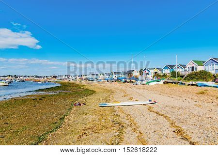 CHRISTCHURCH UNITED KINGDOM - AUGUST 22: This is Hengistbury head a popular beach destination in Chrischurch where people often go for weekend breaks on August 22 2016 in Christchurch