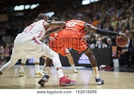 VALENCIA, SPAIN - OCTOBER 19th: Sato with ball during Eurocup match between Valencia Basket and Hapoel Bank Yahav Jerusalem at Fonteta Stadium on October 19, 2016 in Valencia, Spain