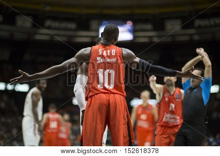 VALENCIA, SPAIN - OCTOBER 19th: 10 Sato during Eurocup match between Valencia Basket and Hapoel Bank Yahav Jerusalem at Fonteta Stadium on October 19, 2016 in Valencia, Spain