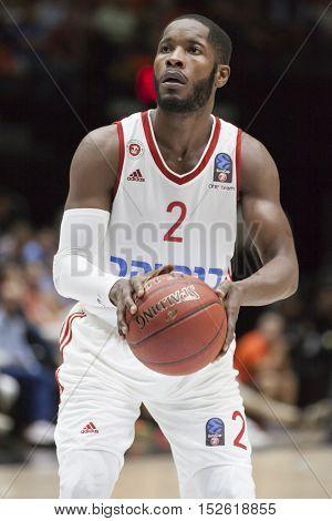 VALENCIA, SPAIN - OCTOBER 19th: Jerome Dyson during Eurocup match between Valencia Basket and Hapoel Bank Yahav Jerusalem at Fonteta Stadium on October 19, 2016 in Valencia, Spain
