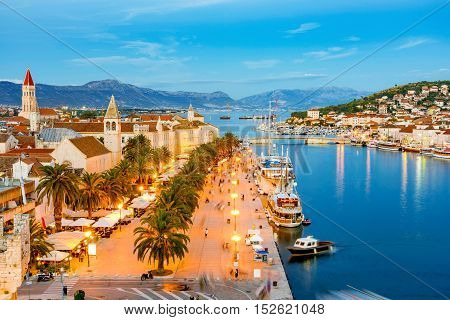 Evening view of Trogir old town waterfront and buildings