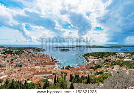 Scenic view of Hvar Island and clouds