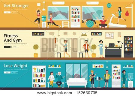 Get Stronger Fitness And Gym Lose Weight flat fitness interior outdoor concept web. Career Chart Fun