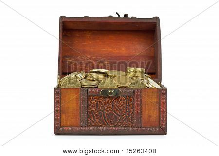 Old wooden chest with golden coins isolated on the white background poster