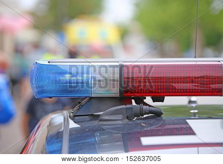 Flashing Lights On The Police Car On Patrol