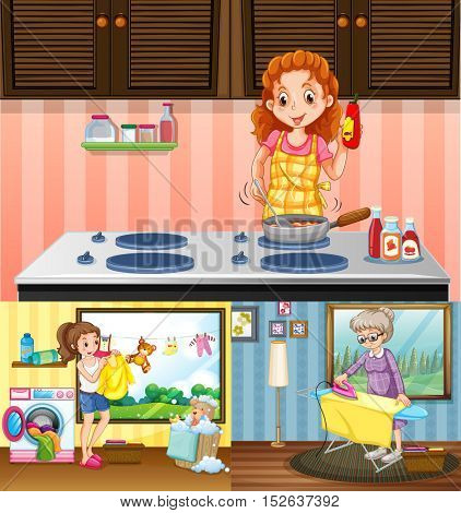 Women doing different chores in the house illustration