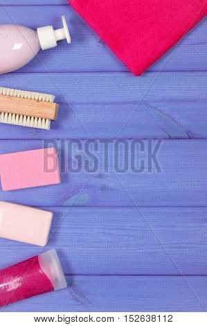 Accessories And Cosmetics For Personal Hygiene In Bathroom, Concept Of Body Care, Copy Space For Tex