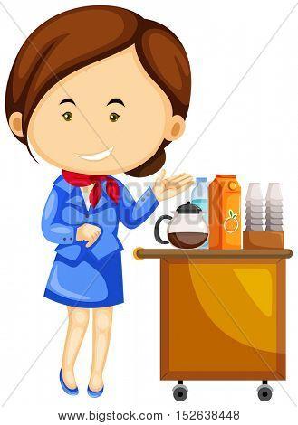 Flight attendant and drinks trolley cart illustration