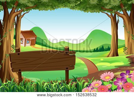 Wooden sign and countryside scene background illustration