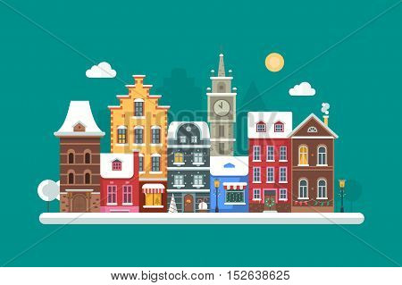 Europe winter street flat landscape with colorful european style houses and Christmas decorations. Decorated europe christmas city background with old town building facades and xmas ornaments.