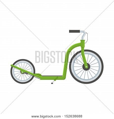 Green kick scooter vector illustration. Balance bike in green color isolated on white background. Push bicycle flat design vector illustration . Alternative city transport.
