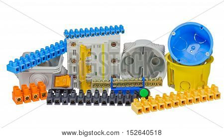 Electrical tools and component kit to use in electrical installations on white background