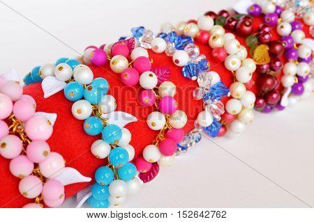 Set of bracelets. Colorful bracelets from beads