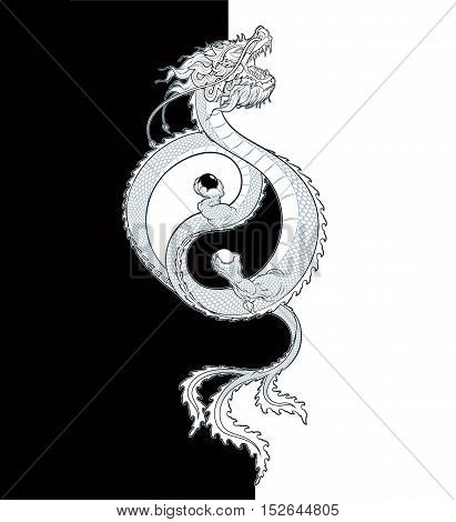 Vector Illustration of a flying Oriental Dragon holding two spheres shaping the Yin-Yang symbol. All elements neatly on layers and groups.