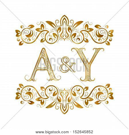 A&Y vintage initials logo symbol. Letters A Y ampersand surrounded floral ornament. Wedding or business partners initials monogram in royal style.