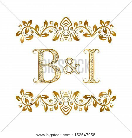 B&I vintage initials logo symbol. Letters B I ampersand surrounded floral ornament. Wedding or business partners initials monogram in royal style.