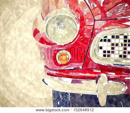 Abstract watercolor digital generated painting of the front view on classic vintage red car.