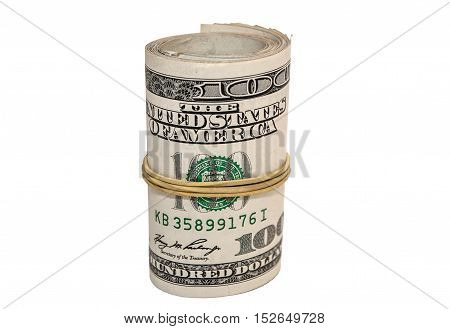 Roll of one hundred dollars banknotes isolated on white background