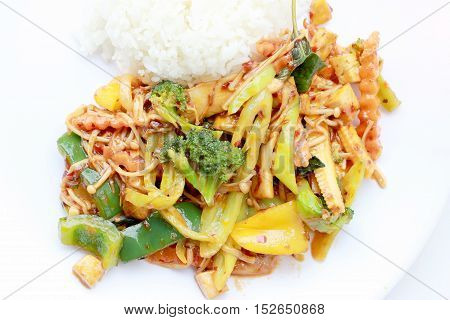 Stir Fried Mixed Vegetables With Roasted Chili Paste, Vegetarian Food, Healthy Food. Thai Cuisine.