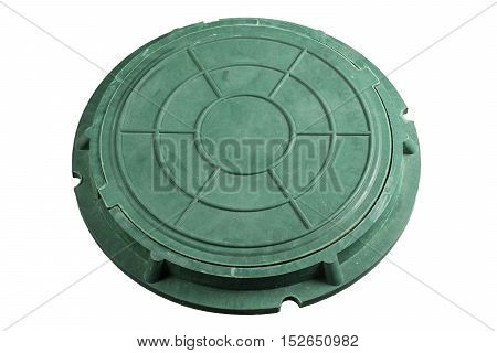 Closeup photo of Old Sewer manhole cover on white background