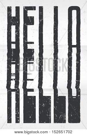 Hello Glitch Art Typographic Poster. Glitchy Word For Your Creative Designs