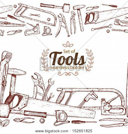 Seamless horizontal borders of repair tools icons on a white background. Vector stock illustration.