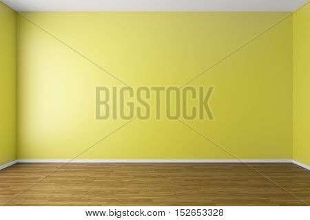 Empty room with yellow walls dark brown hardwood parquet floor and soft skylight from window simple minimalist interior architecture background with copy-space 3d illustration